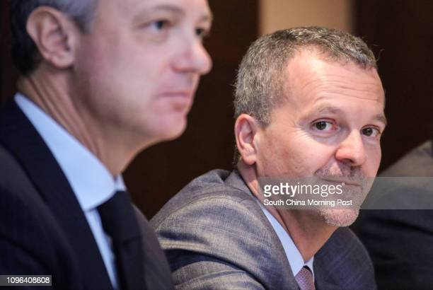 Alessandro Bonfiglioli director general of CAAB and Antonello De Riu consul general of Italy in Hong Kong and Macau attend a press conference during...