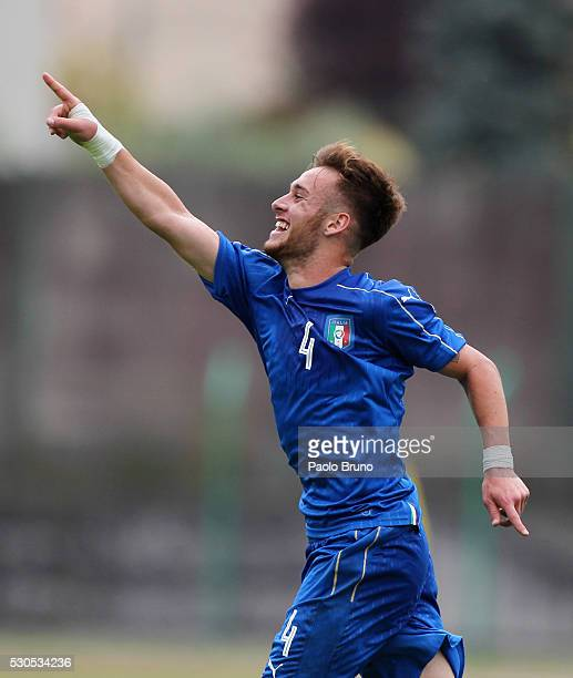 Alessandro Bordin of Italy celebrates after scoring the opening goal during the U18 international friendly match between Italy and Romania on May 11...