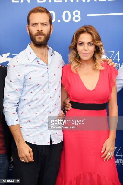 Alessandro Borghi and Claudia Gerini attend the 'Suburra La Serie' photocall during the 74th Venice Film Festival on September 2 2017 in Venice Italy