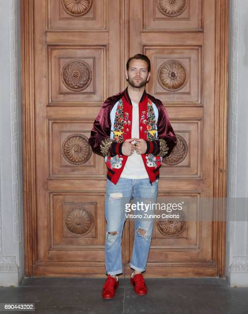Alessandro Borghi arrives at the Gucci Cruise 2018 fashion show at Palazzo Pitti on May 29 2017 in Florence Italy