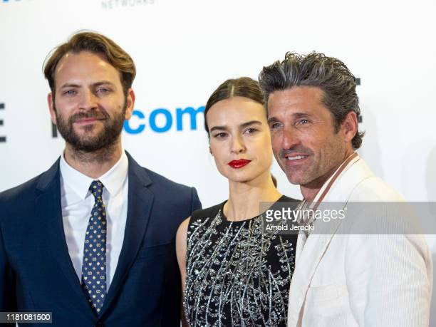 Alessandro Borghi, Kasia Smutniak and Patrick Dempsey attends the opening ceremony of MIPCOM 2019 on October 14, 2019 in Cannes, France.