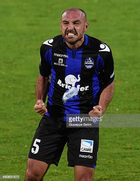 Alessandro Bruno of Latina celebrates after scoring the opening goal during the Serie B playoff final match between US Latina and AC Cesena at Stadio...