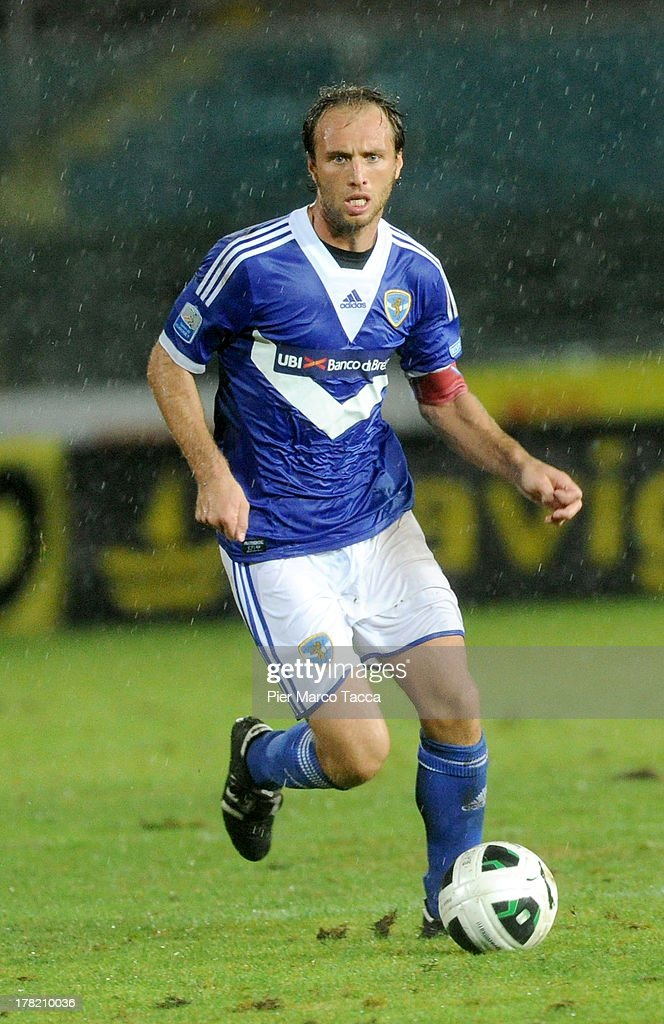 Alessandro Budel of Brescia in action during the Serie B match between Brescia Calcio and Virtus Lanciano at Mario Rigamonti Stadium on August 24, 2013 in Brescia, Italy.