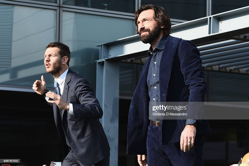 Alessandro Cattelan and Andrea Pirlo attend E poi c'e' Cattelan TV Show on March 29, 2018 in Milan, Italy.