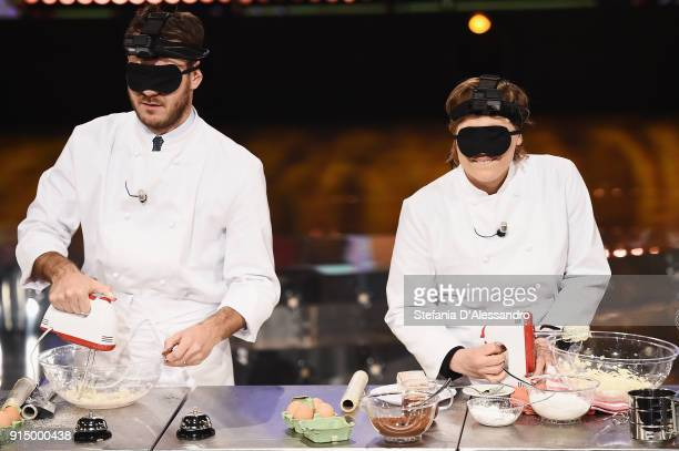 Alessandro Cattelan and Antonia Klugmann attend 'E Poi C'e Cattelan' tv show on February 6 2018 in Milan Italy