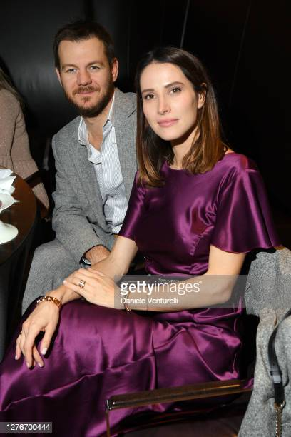 Alessandro Cattelan and Ludovica Sauer are seen at the Bulgari Milan SS 2021 Event on September 25, 2020 in Milan, Italy.