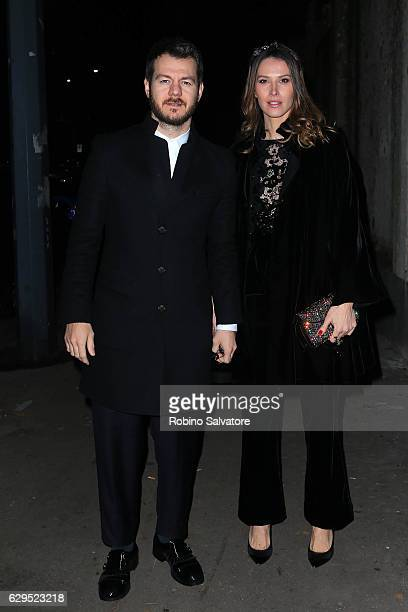 Alessandro Cattelan and Ludovica Sauer arrive at Fondazione IEO CMM Christmas Charity Dinner at Villa Necchi on December 13 2016 in Milan Italy