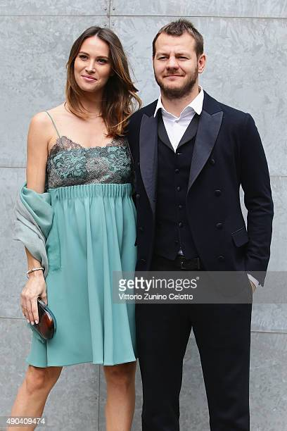 Alessandro Cattelan and Ludovica Sauer arrive at the Giorgio Armani show during the Milan Fashion Week Spring/Summer 2016 on September 28 2015 in...