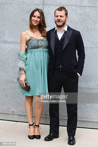 Alessandro Cattelan and Ludovica Sauer arrive at the Giorgio Armani show during the Milan Fashion Week Spring/Summer 2016 on September 28, 2015 in...