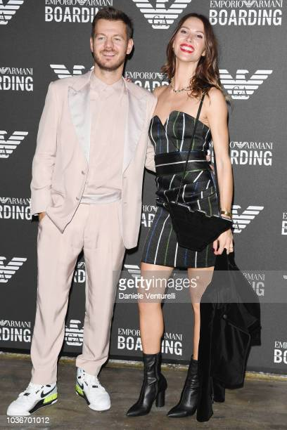 Alessandro Cattelan and Ludovica Sauer attend the Emporio Armani show during Milan Fashion Week Spring/Summer 2019 on September 20, 2018 in Milan,...