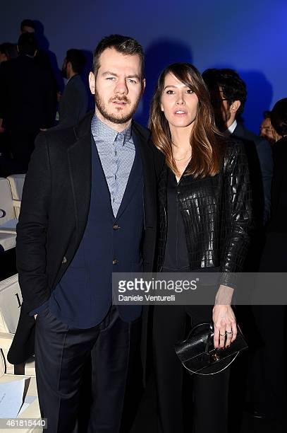 Alessandro Cattelan and Ludovica Sauer attend the Giorgio Armani show during the Milan Menswear Fashion Week Fall Winter 2015/2016 on January 20,...