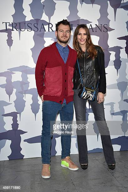Alessandro Cattelan and Ludovica Sauer attend the Trussardi Jeans FW 15/16 event at Laboratori Ansaldo Scala on November 17, 2014 in Milan, Italy.