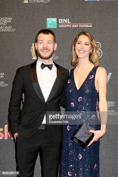 Alessandro Cattelan and Ludovica Sauer walk the red carpet of the 61 David Di Donatello on March 27 2017 in Rome Italy