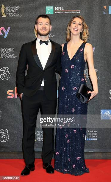 Alessandro Cattelan and Ludovica Sauer walk the red carpet of the 61. David Di Donatello on March 27, 2017 in Rome, Italy.