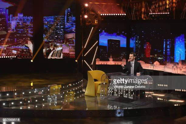 Alessandro Cattelan and Miriam Leone attend 'E Poi C'e' Cattelan' tv show on March 15 2018 in Milan Italy