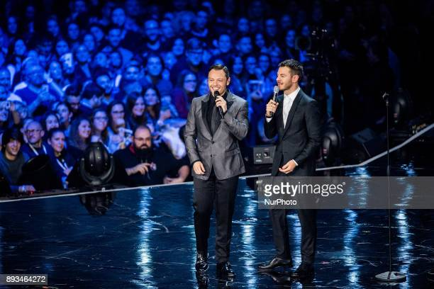 Alessandro Cattelan and Tiziano Ferro attend X Factor 11 finale on December 14 2017 in Milan Italy
