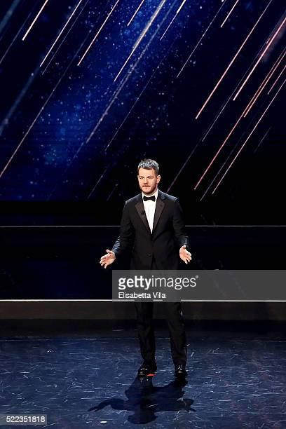 Alessandro Cattelan introduces the 'Premi David di Donatello' awards ceremony on April 18 2016 in Rome Italy