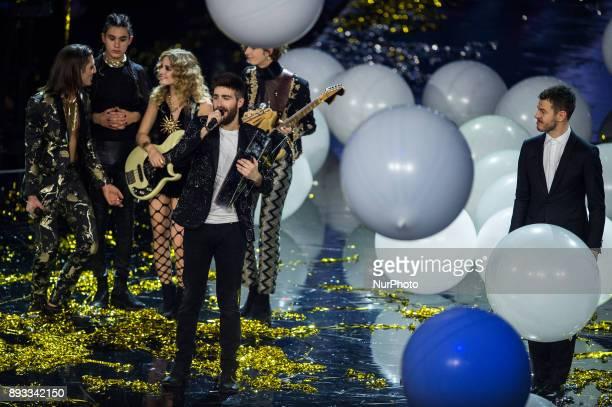 Alessandro Cattelan Maneskin and Lorenzo Licitra during italian final X Factor 11 on December 14 2017 at Mediolanum Forum in Assago Milan Italy...
