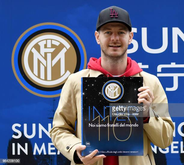 Alessandro Cattelan poses for a photo during the FC Internazionale training session at the club's training ground Suning Training Center in memory of...