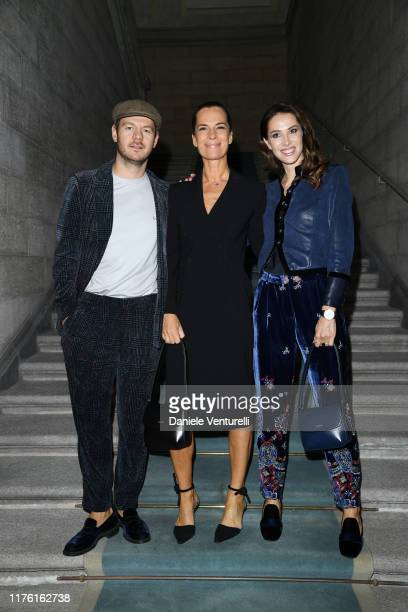 Alessandro Cattelan, Roberta Armani and Ludovica Sauer attend the Giorgio Armani fashion show during the Milan Fashion Week Spring/Summer 2020 on...