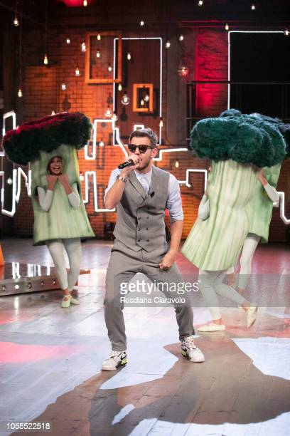 Alessandro Cattelan sings 'Broccoletti' during 'E Poi C'e' Cattelan' tv show at Teatro Parenti on October 30 2018 in Milan Italy