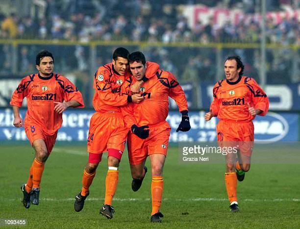 Alessandro Contichio, Max Tonetto, Lucarelli Cristiano and Giorgetti Rodolfo of Lecce celebrating a goal, during a SERIE A 12th Round League match...