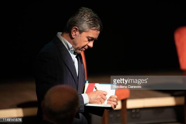 Alessandro Costacurta Aka Billy presents his new book Zio Billy e i suoi amici Il calcio e lo scolapasta at Teatro Gerolamo on May 14 2019 in Milan...