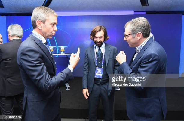 Alessandro Costacurta and Andrea Pirlo during the 2019 Under21 EURO final tournament draw on November 23 2018 in Bologna Italy
