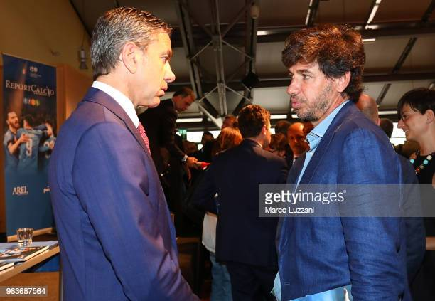 Alessandro Costacurta and Demetrio Albertini during the unveiling of 'Report Calcio' Italian Football Federation annual report on May 30 2018 in...