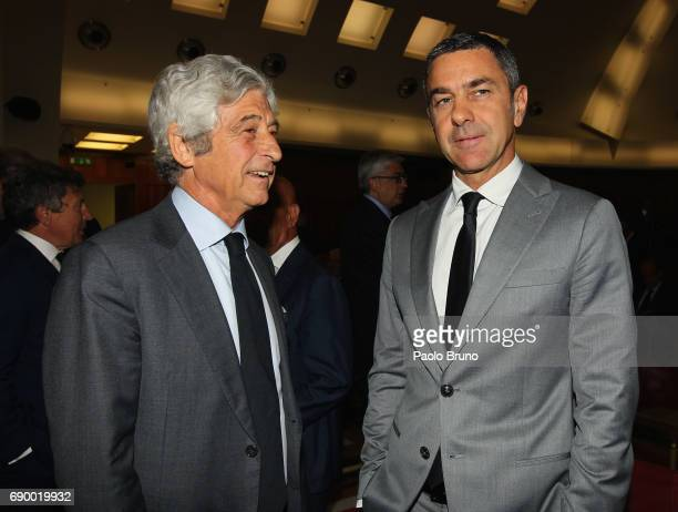 Alessandro Costacurta and Gianni Rivera attend the FIGC 'Report Calcio 2017' press conference at Sala Polifunzionale on May 30 2017 in Rome Italy