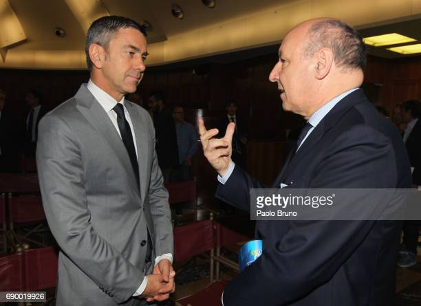 Alessandro Costacurta and Juventus FC Sports Director Giuseppe Marotta attend the FIGC 'Report Calcio 2017' press conference at Sala Polifunzionale...