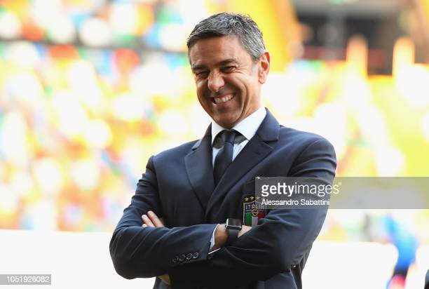 Alessandro Costacurta Commissioner of FIGC looks on before the International Friendly match between Italy U21 and Belgium U21 at Friuli Stadium on...