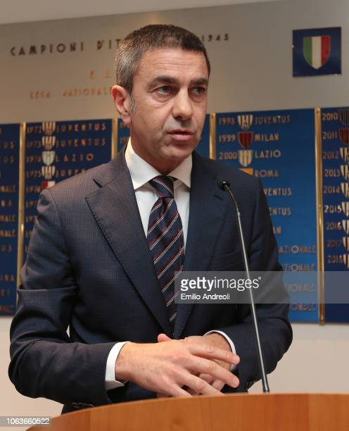 Alessandro Costacurta delivers a speach during the Lega Serie A 'Un Rosso Alla Violenza' press conference on November 20 2018 in Milan Italy