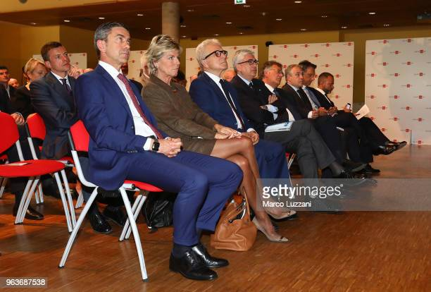 Alessandro Costacurta Evelina Christillin and Antonio Matarrese during the unveiling of 'Report Calcio' Italian Football Federation annual report on...