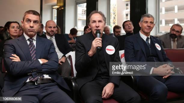 Alessandro Costacurta Franco Baresi and Francesco Toldo attend the Lega Serie A 'Un Rosso Alla Violenza' press conference on November 20 2018 in...