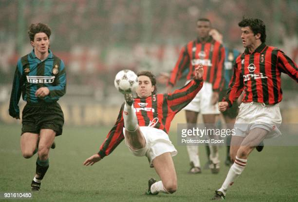 Alessandro Costacurta of AC Milan in action during the Serie A match between AC Milan and Inter Milan at the San Siro on March 10 1996 in Milan Italy