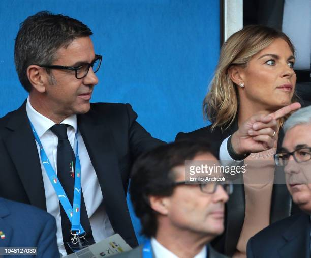 Alessandro Costacurta of FIGC is seen with his wife Martina Colombari during the International Friendly match between Italy Women and Sweden Women at...