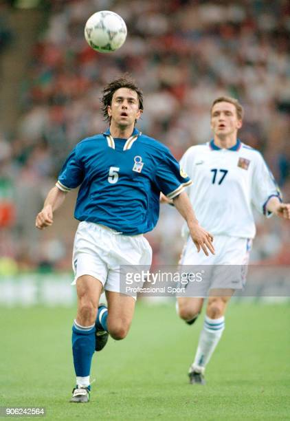 Alessandro Costacurta of Italy outruns Vladimir Smicer of the Czech Republic during a UEFA Euro96 Group C match at Anfield in Liverpool on 14th June...