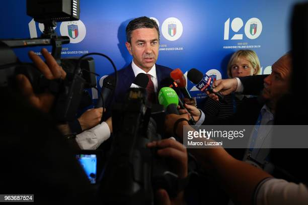 Alessandro Costacurta speaks to the media during the unveiling of 'Report Calcio' Italian Football Federation annual report on May 30 2018 in Milan...