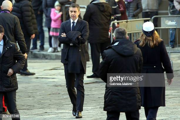 Alessandro Costacurta sub commiser of FIGC ahead of a funeral service for Davide Astori on March 8 2018 in Florence Italy The Fiorentina captain and...
