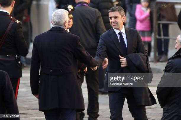 Alessandro Costacurta sub commissioner of FIGC during the funeral of Davide Astori on March 8 2018 in Florence Italy The Fiorentina captain and Italy...