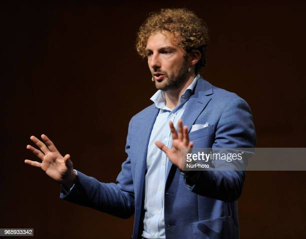 Alessandro DAvenia Italian writer teacher and screenwriter during the conference for the 31^ International Book Fair of Turin 2018 in Turin Italy on...
