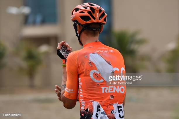 Alessandro De Marchi of Italy and CCC Team / Injury / Crash / Detail view / during the 5th UAE Tour 2019 Stage 6 a 180km stage from Ajman to Jebel...