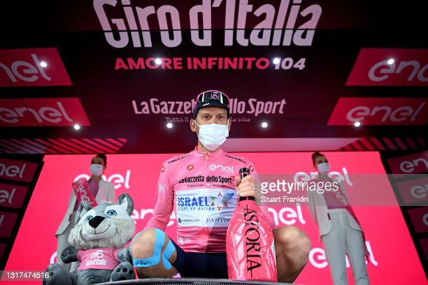 Alessandro De Marchi of Italy and Team Israel Start-Up Pink Leader Jersey celebrates at podium during the 104th Giro d'Italia 2021, Stage 4 a 187km...
