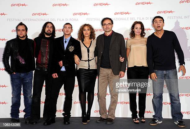 Alessandro Deidda and Francesco Sarcina from the band Le Vibrazionia actors Fulvio Forti and Valeria Golino director Valerio Jalongo and actors...