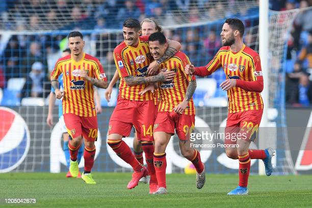 Alessandro Deiola, Gianluca Lapadula and Andrea Rispoli of US Lecce celebrate the 0-1 goal scored by Gianluca Lapadula during the Serie A match...