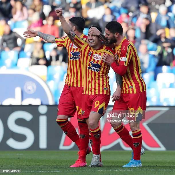 Alessandro Deiola, Gianluca Lapadula and Andrea Rispoli of US Lecce celebrate the 0-1 goal scored by Gianluca Lapadula during the Serie A match...
