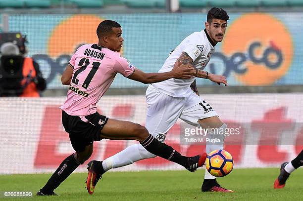 Alessandro Deiola of Spezia holds off the challenge from Robin Quaison of Palermo during the TIM Cup match between US Citta di Palermo and AC Spezia...