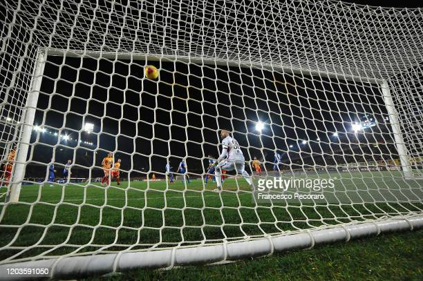 Alessandro Deiola of US Lecce scores the 10 goal during the Serie A match between US Lecce and Torino FC at Stadio Via del Mare on February 02 2020...