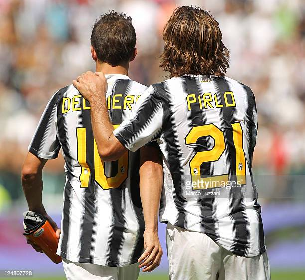 Alessandro Del Piero and Andrea Pirlo of Juventus FC celebrate victory at the end of the Serie A match between Juventus FC and Parma FC at the...